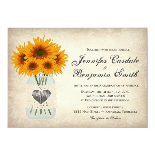 Wedding Invitations Mason Jar: Rustic Mason Jar Sunflower Wedding Invitations