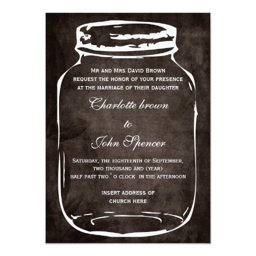 Wedding Invitations Mason Jar: Rustic Mason Jar Wedding Invites