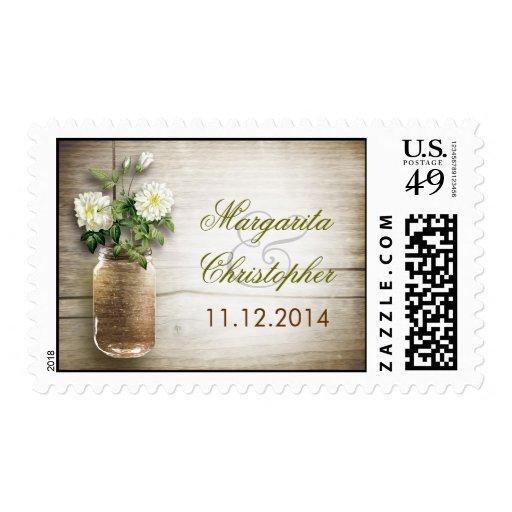 How To Rustic Mason Jar Wedding Postage Stamps Mason Jar