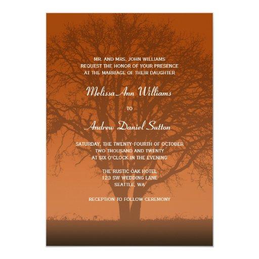 Custom Rustic Wedding Invitations: Rustic Orange Oak Tree Wedding Custom Invitation