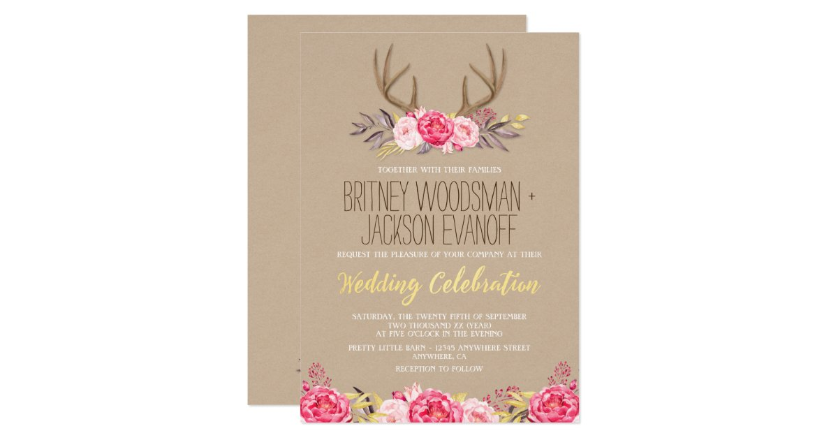 Deer Wedding Invitations: Rustic Peony And Deer Antler Wedding Invitations