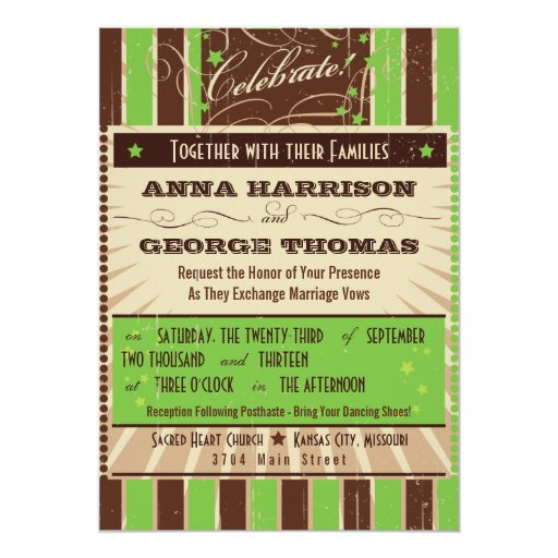 Apple Green Wedding Invitations: Rustic Poster: Apple Green Custom Wedding Card