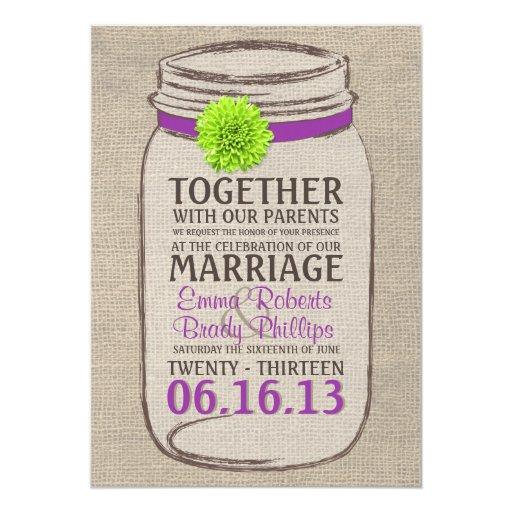 Purple Rustic Wedding Invitations: Rustic Purple & Green Mason Jar Wedding Invitation