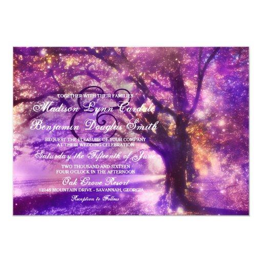 Purple Rustic Wedding Invitations: Rustic Purple Oak Tree Wedding Invitations