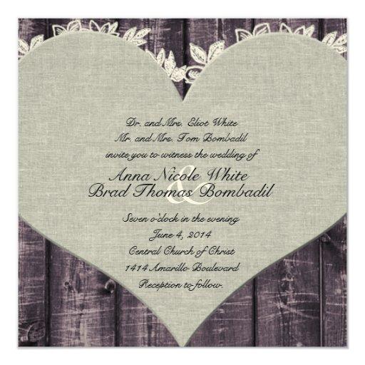 Purple Rustic Wedding Invitations: Rustic Purple Wood Heart Wedding Invitation