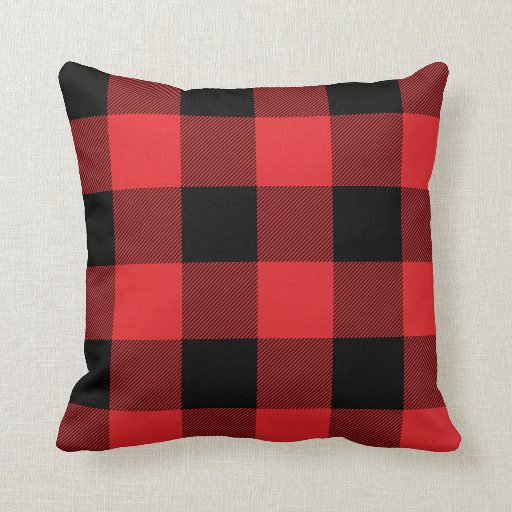 Rustic Red And Black Buffalo Check Plaid Throw Pillow Zazzle