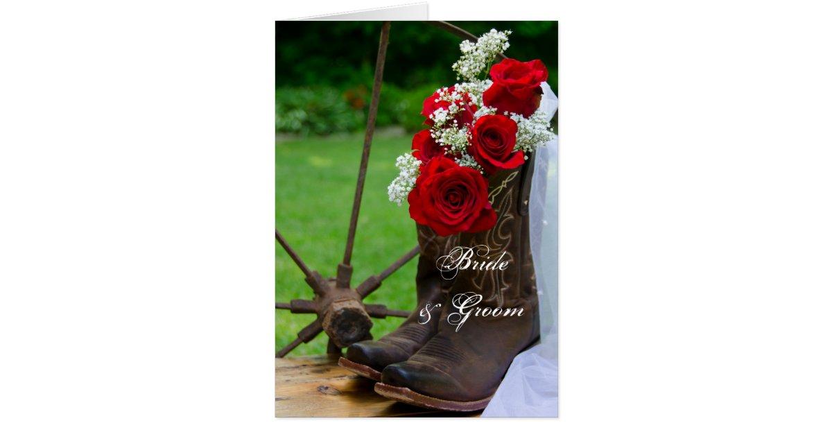 Cowboy Boot Wedding Invitations: Rustic Roses And Cowboy Boots Wedding Invitation