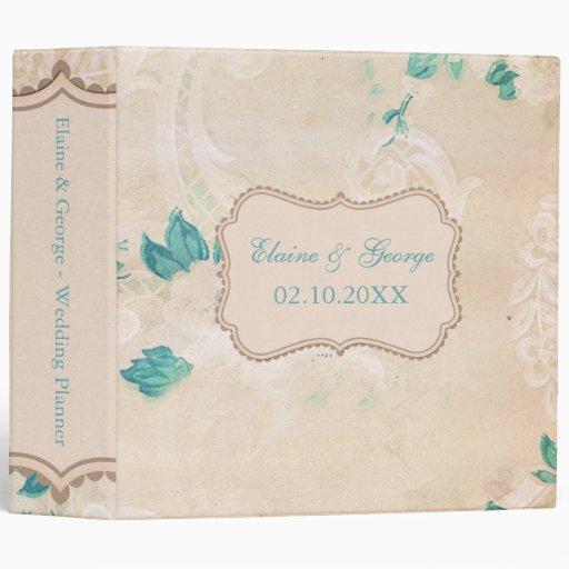 Printable Wedding Planner Binder Planning A Rustic: Rustic Shabby Chic Aqua Vintage Wedding Planner Binder