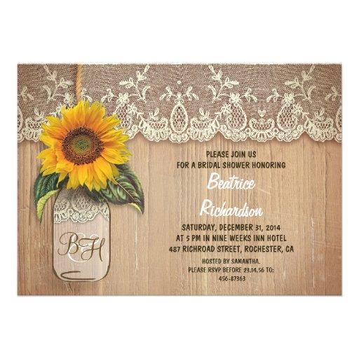 Rustic Sunflower Mason Jar Bridal Shower 5x7 Paper