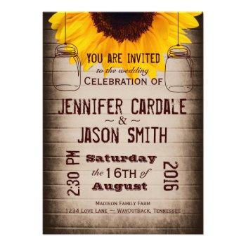 Rustic Sunflower Mason Jars Wedding Invitations