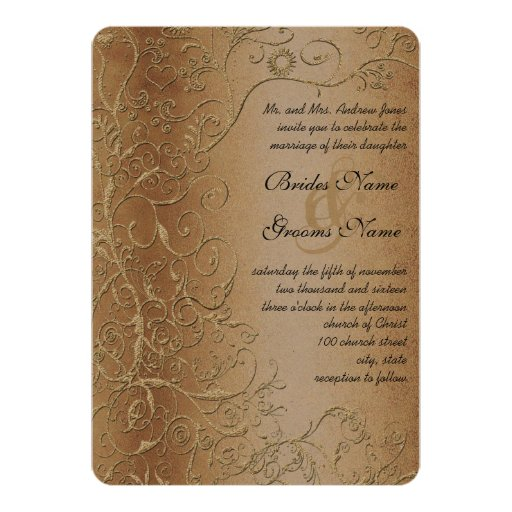Rustic Wedding Invitation Fonts: Rustic Swirls Black Font Wedding Invitation