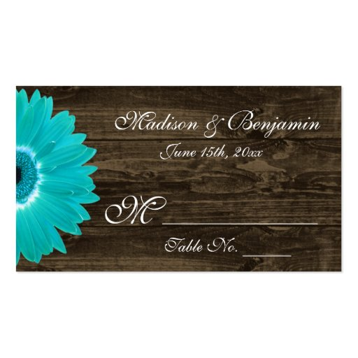 Rustic teal gerber daisy wedding place cards double sided for Double sided place card template