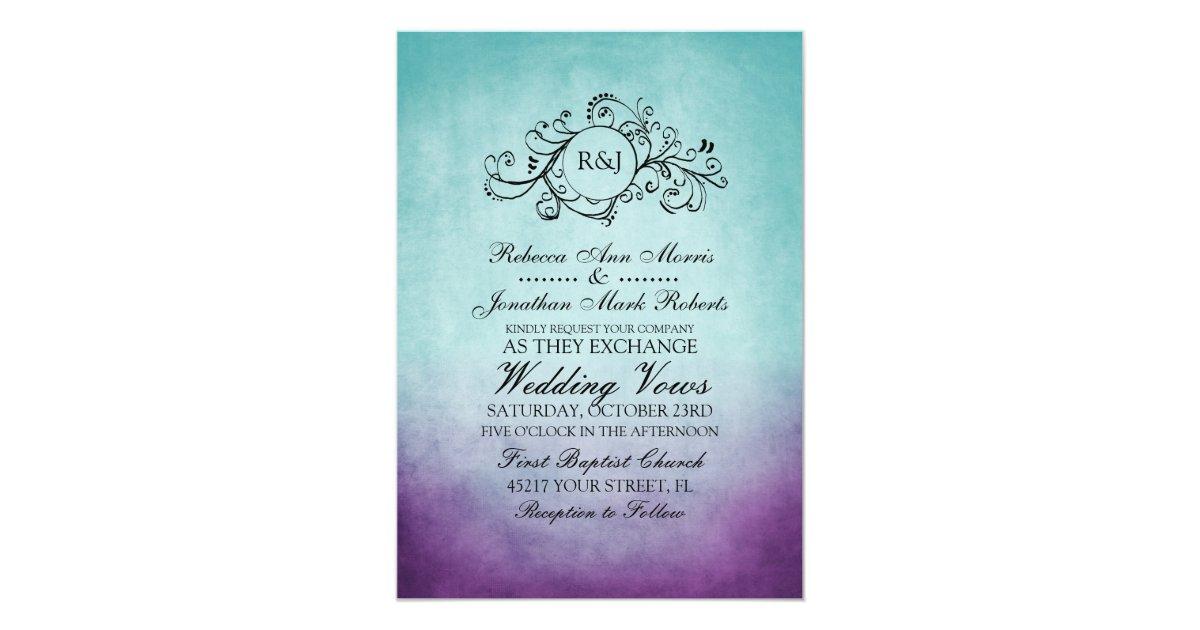 Purple Rustic Wedding Invitations: Rustic Teal Purple Bohemian Wedding Invitation