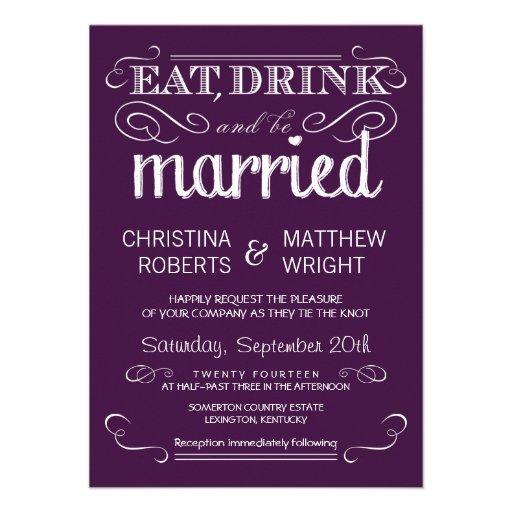 "Purple Rustic Wedding Invitations: Rustic Typography Plum Purple Wedding Invitations 4.5"" X 6"