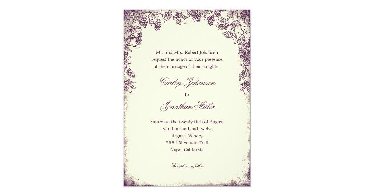 Purple Rustic Wedding Invitations: Rustic Vineyard Wedding Invitation - Purple