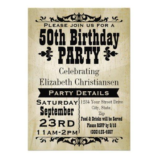 "Rustic Vintage 50th Birthday Party Invitation 5"" X 7"