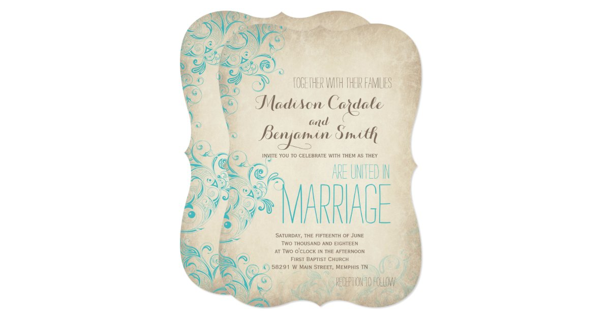 Flourish Wedding Invitations: Rustic Vintage Aqua Flourish Wedding Invitations