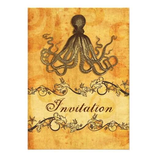 Vintage Beach Wedding Invitations: Rustic, Vintage ,octopus Beach Wedding Invites