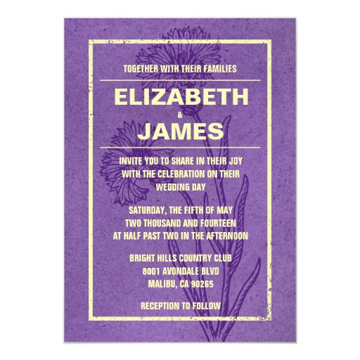 Purple Rustic Wedding Invitations: Rustic Vintage Purple And Gold Wedding Invitations