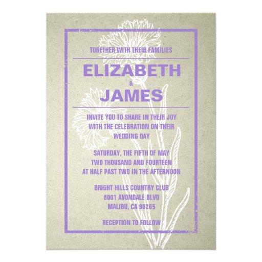 Purple Rustic Wedding Invitations: Rustic Vintage Purple Wedding Invitations Custom Invites