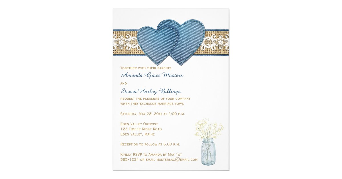 Denim Wedding Invitations: Rustic Wedding Invitation