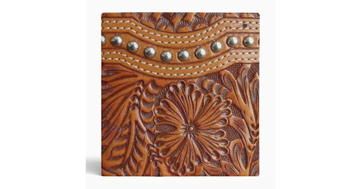 Rustic Western Country Pattern Tooled Leather 3 Ring