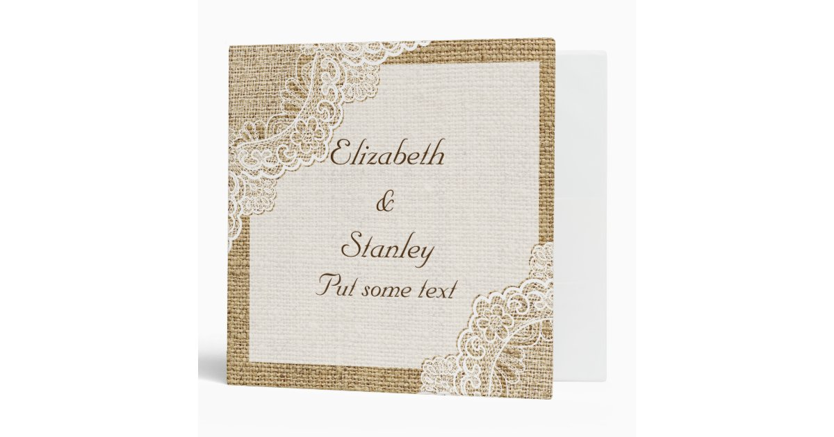 Printable Wedding Planner Binder Planning A Rustic: Rustic White Lace On Burlap Wedding Planner 3 Ring Binder