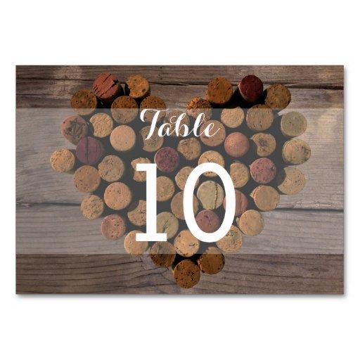 Wine Cork Table Numbers: Rustic Wine Cork Table Number Card