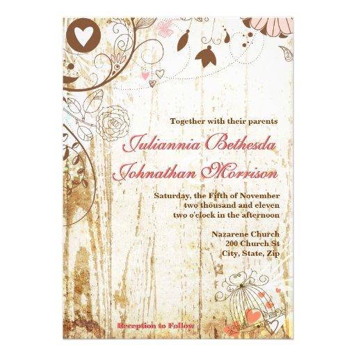 "Wedding Invitations Birdcage: Rustic Wood Birdcage Wedding Invitation 5"" X 7"" Invitation"