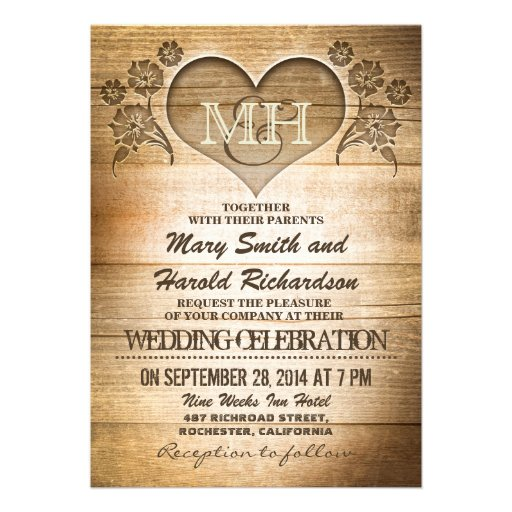 "Country Wedding Invitation Wording: Rustic Wood Country Wedding Invitations 5"" X 7"" Invitation"