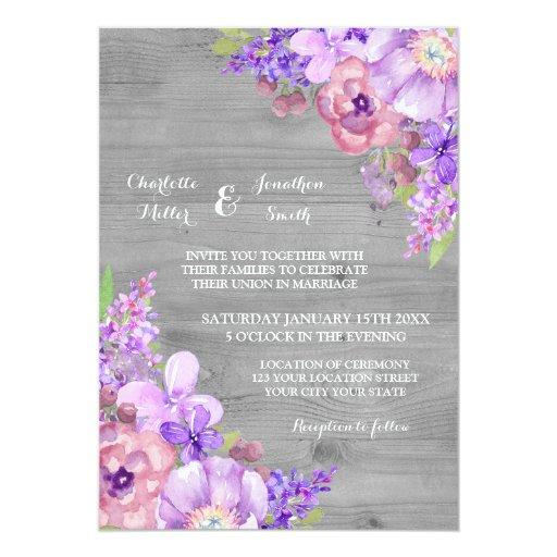 Rustic Burgundy Purple Floral Script Wedding Invitations: Rustic Wood Purple Flowers Wedding Invitations