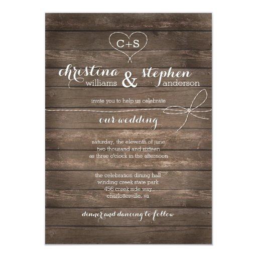 Www Zazzle Com Wedding Invitations: Rustic Wood Tie The Knot Wedding Invitation