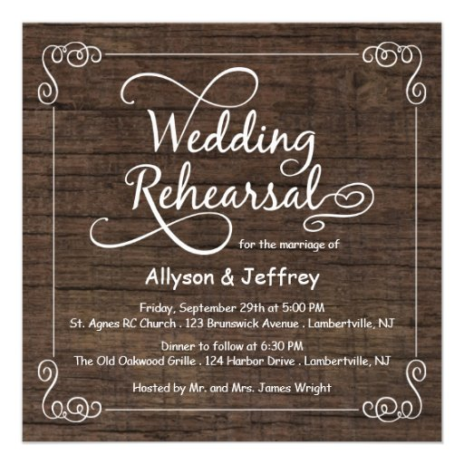 Wedding Rehearsal Invitations: Rustic Wood Wedding Rehearsal Dinner Invitations 5.25