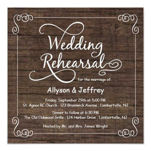 Wedding Rehearsal Invitations Templates: Rustic Wood Wedding Rehearsal Dinner Invitations