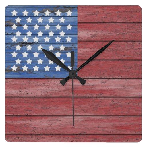 Rustic 8 Rustic 8: Rustic Wooden Barn Wall American Flag Patriotic Wallclocks