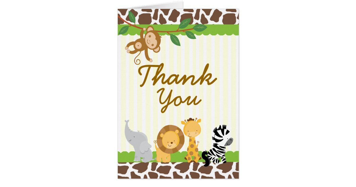 safari jungle thank you card birthday baby shower zazzle
