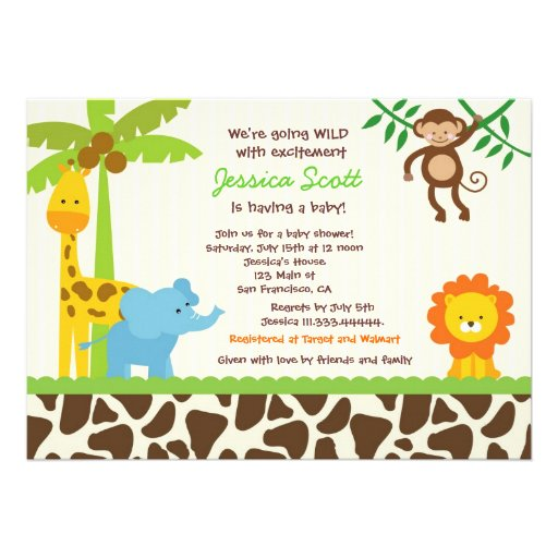 Personalized Giraffe Baby Shower Invitations