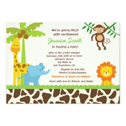 Safari Jungle Zoo Baby Shower Invitations   Zazzle