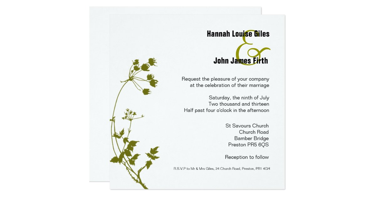 White And Green Wedding Invitations: Sage Green And White Wedding Invitation