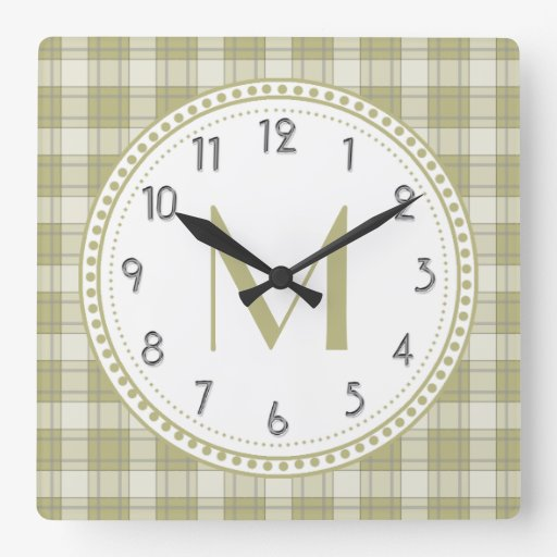 Sage Green Country Plaid Pattern Monogram Square Wall