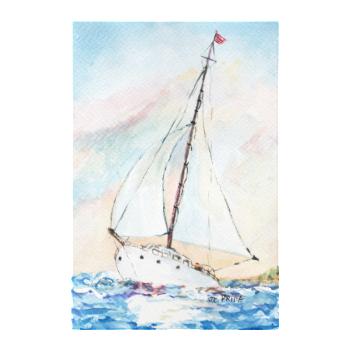 Sailboat at Sea Fine Art Watercolor Painting Canvas Print