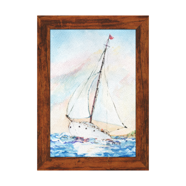 Sailboat at Sea Fine Art Watercolor Painting Gallery Wrapped Canvas