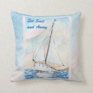 Sailboat at Sea Fine Art Watercolor Painting Pillows