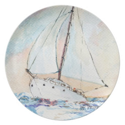Sailboat at Sea Fine Art Watercolor Painting Party Plates