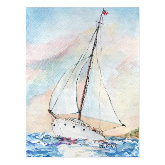 Sailboat at Sea Fine Art Watercolor Painting Post Cards