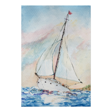 Sailboat at Sea Fine Art Watercolor Painting Posters