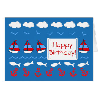 Red White Blue Birthday Greeting Cards | Zazzle