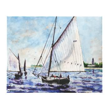 Sailing Along Fine Art Sailboats Watercolor Stretched Canvas Print