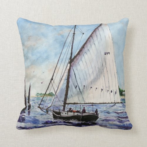 Sailing Along Fine Art Sailboats Watercolor Throw Pillow