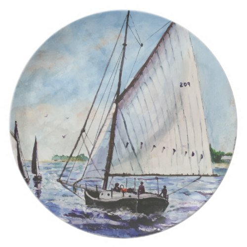 Sailing Along Fine Art Sailboats Watercolor Dinner Plate